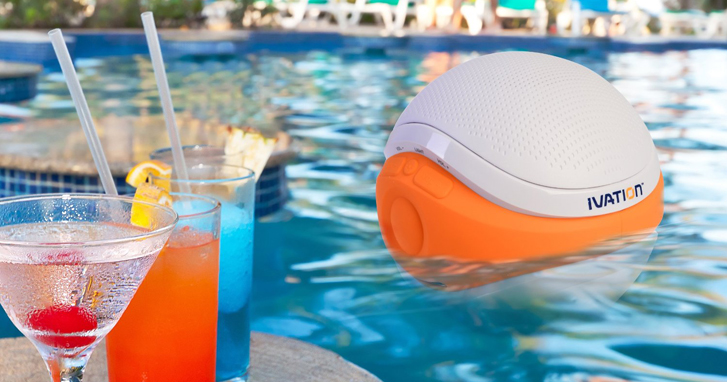 Ivation Waterproof Bluetooth Swimming Pool Floating Speaker
